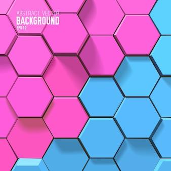 Fundo geométrico com hexágonos rosa e azuis