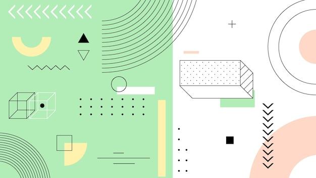 Fundo geométrico com linhas e formas Vetor grátis