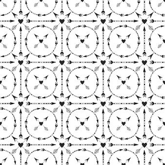 Fundo geométrico com ornamento de setas e corações.
