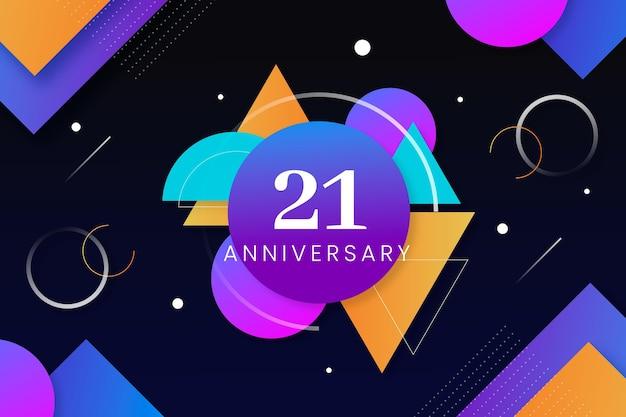 Fundo geométrico de 21 anos