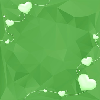 Fundo geométrico de bolha de coração verde