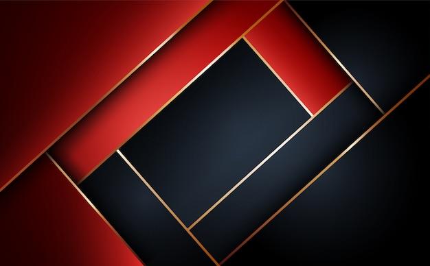Fundo geométrico de camada vermelha e preta