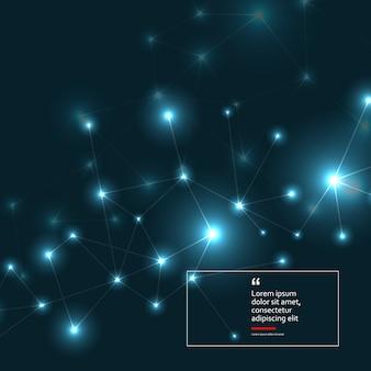 Fundo geométrico de conexão. linhas e pontos em um fundo escuro. formação científica