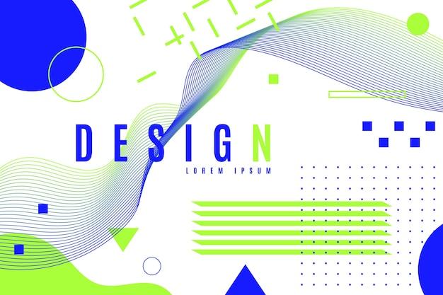 Fundo geométrico de design gráfico em tons de cores frias
