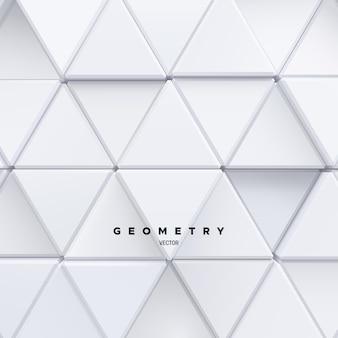 Fundo geométrico de formas de mosaico de triângulos brancos