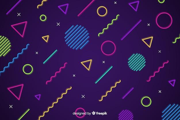 Fundo geométrico de formas de néon