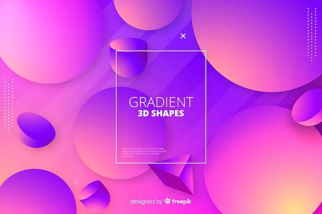 Fundo geométrico de formas tridimensionais de gradiente