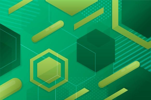 Fundo geométrico de formas verdes
