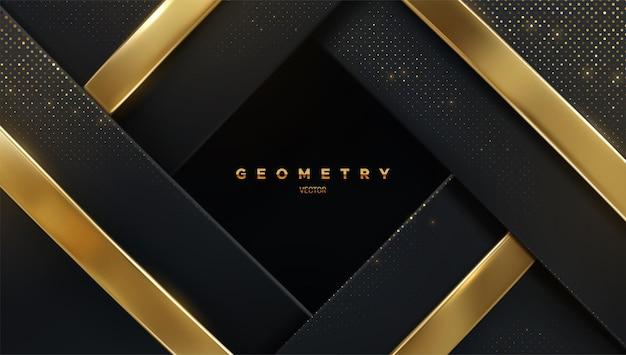 Fundo geométrico de luxo abstrato de camadas pretas com brilhos brilhantes e fitas douradas