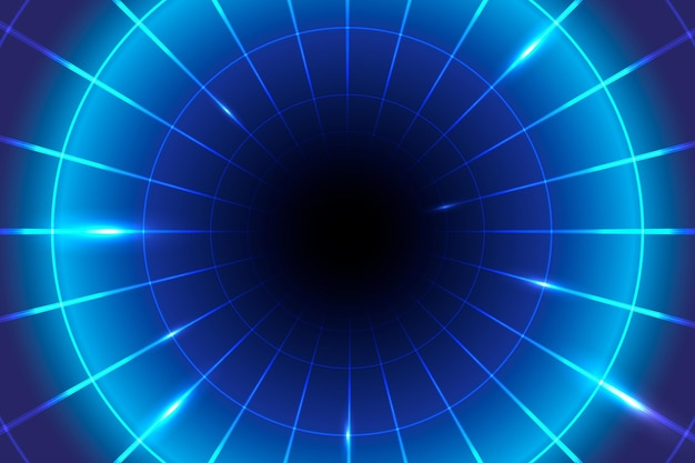 Fundo geométrico de luz azul néon