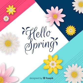 Fundo geométrico de olá primavera