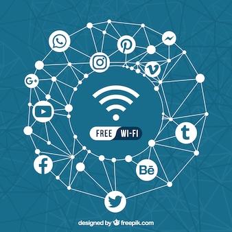 Fundo geométrico de redes sociais e wifi gratuito