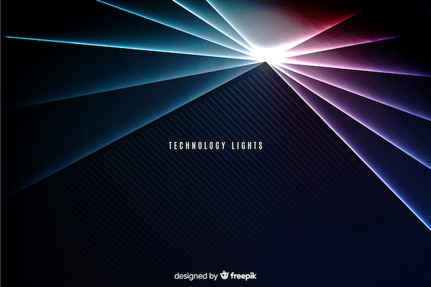 Fundo geométrico de tecnologia de luzes de néon