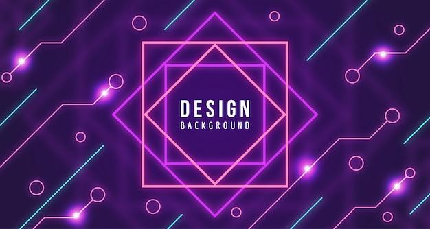 Fundo geométrico de tecnologia de néon