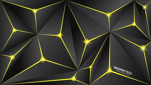 Fundo geométrico de triângulos amarelos e cinza