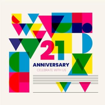 Fundo geométrico de vinte e um aniversário