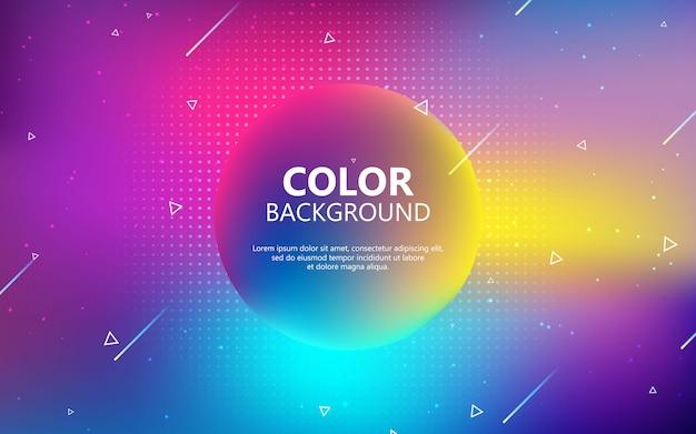 Fundo geométrico do círculo colorido. composição de forma de gradiente fluida na moda