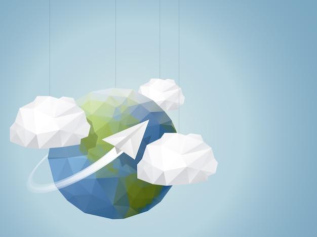 Fundo geométrico do globo terrestre