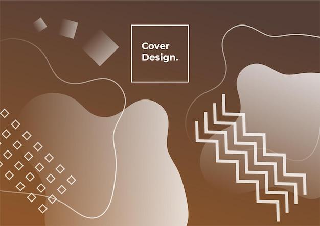 Fundo geométrico do gradiente da cor do tom da terra. fundo abstrato mínimo com elemento memphis. composição de formas dinâmicas
