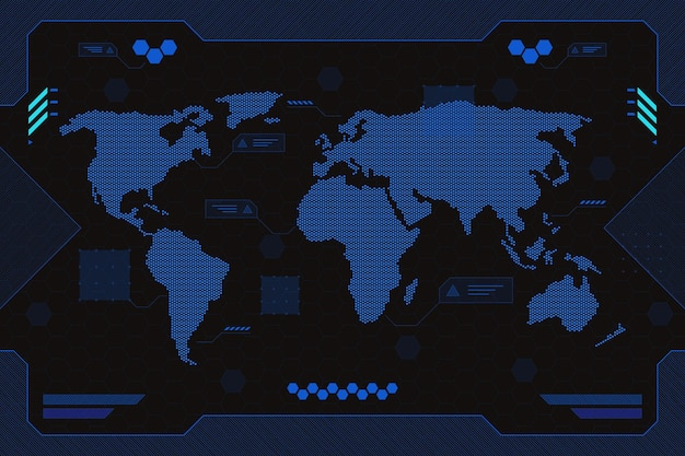 Fundo geométrico do mapa mundial