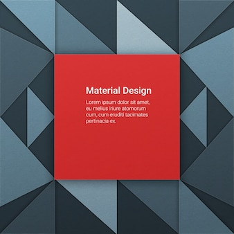 Fundo geométrico em estilo design material com pedaços de papel em diferentes elevações. quadrado vermelho agressivo
