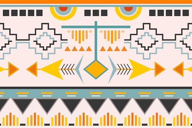 Fundo geométrico étnico, vetor padrão, design colorido sem emenda