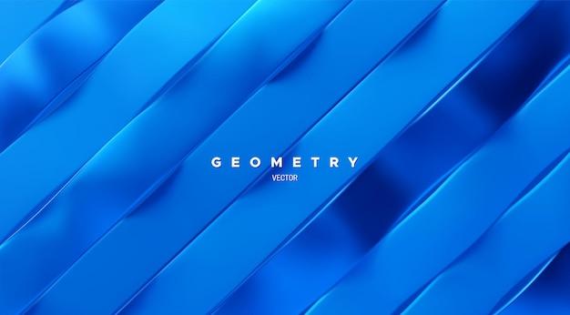 Fundo geométrico fatiado abstrato com fita azul ondulada inclinada