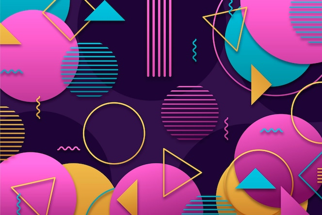 Fundo geométrico gradiente com diferentes formas coloridas