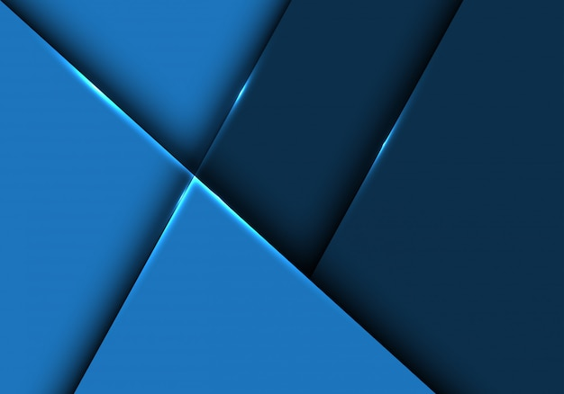Fundo geométrico metálico lustroso azul abstrato.