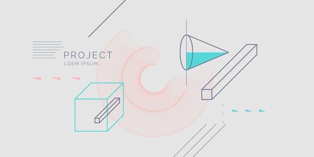 Fundo geométrico moderno da arte abstrata com estilo liso e minimalista. cartaz de vetor com elementos de design