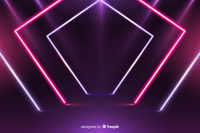Fundo geométrico moderno de luzes de néon