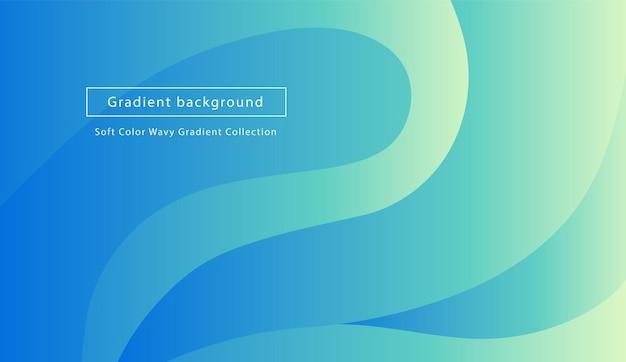 Fundo geométrico ondulado em azul pastel, verde e turquesa. composição de formas gradiente abstrata na moda. vetor eps10. modelo de página de destino.