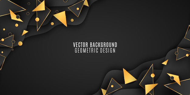 Fundo geométrico para seu projeto. triângulos e círculos pretos e dourados.