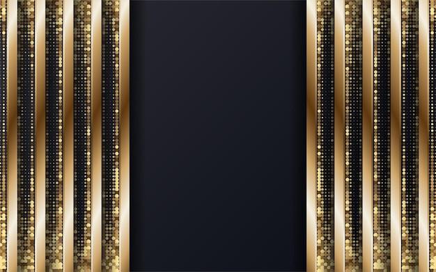 Fundo geométrico premium preto e dourado abstrato