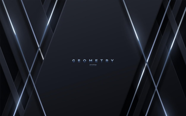 Fundo geométrico preto abstrato com cordas brilhantes prateadas