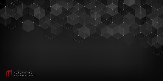 Fundo geométrico preto abstrato com elementos hexagonais simples.