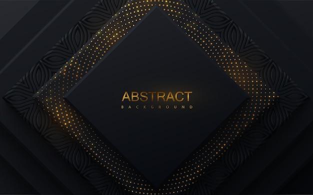 Fundo geométrico preto com camadas de papel quadradas texturizadas com brilhos dourados