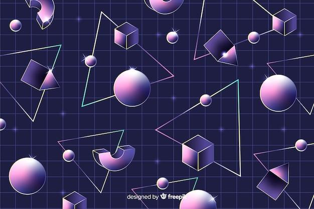 Fundo geométrico retrô com esferas