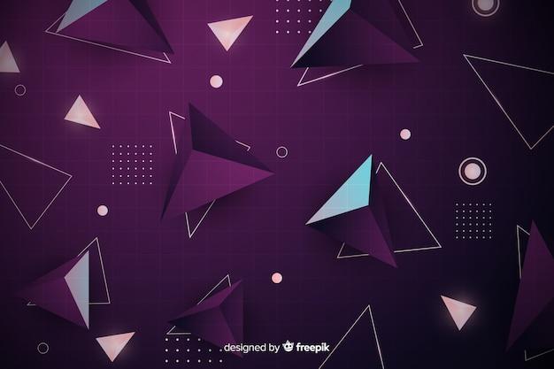 Fundo geométrico retrô com pirâmides