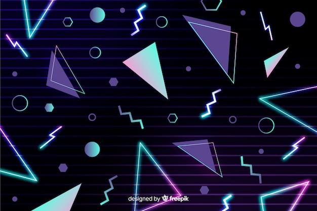 Fundo geométrico retrô com triângulos