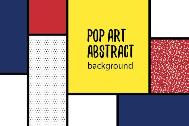 Fundo geométrico retro mondrian vermelho amarelo azul projeto de arte para casa