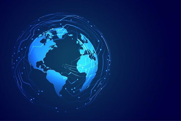 Fundo global de tecnologia com diagrama de circuito