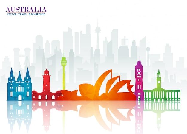 Fundo global do papel do curso e da viagem do marco de austrália.