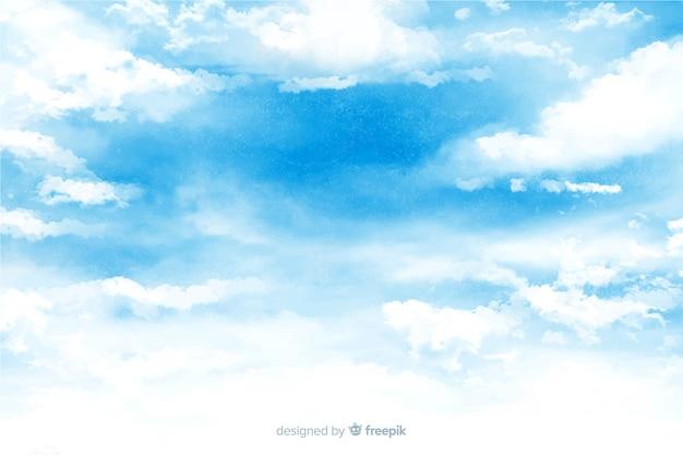 Fundo gracioso nuvens em aquarela