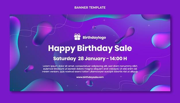 Fundo gradiente abstrato fluido de venda de aniversário