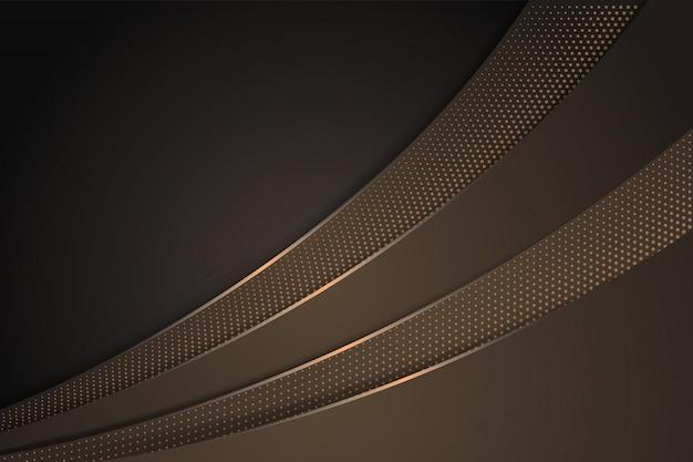 Fundo gradiente abstrato marrom com design de curva. padrão de círculo de meio-tom usar marrom claro. layout horizontal.