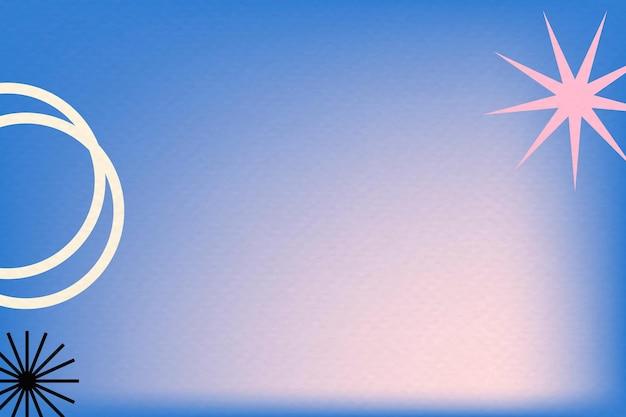 Fundo gradiente azul em memphis abstrato com borda retrô