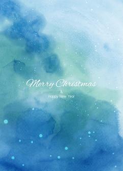 Fundo gradiente azul pintado à mão em aquarela de inverno de natal com respingos de textura nevando