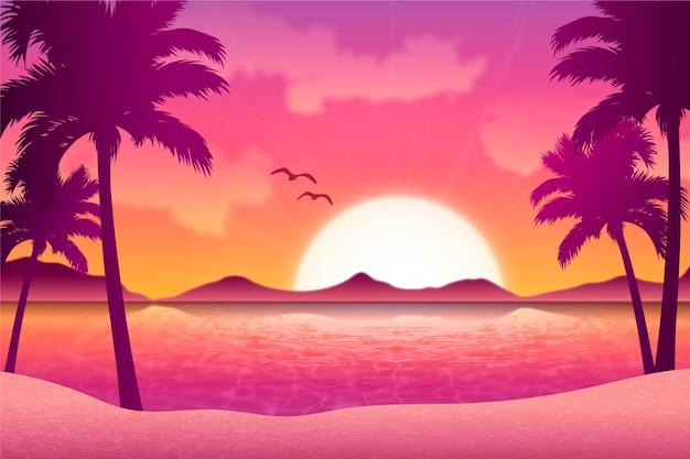 Fundo gradiente da paisagem do pôr do sol da praia