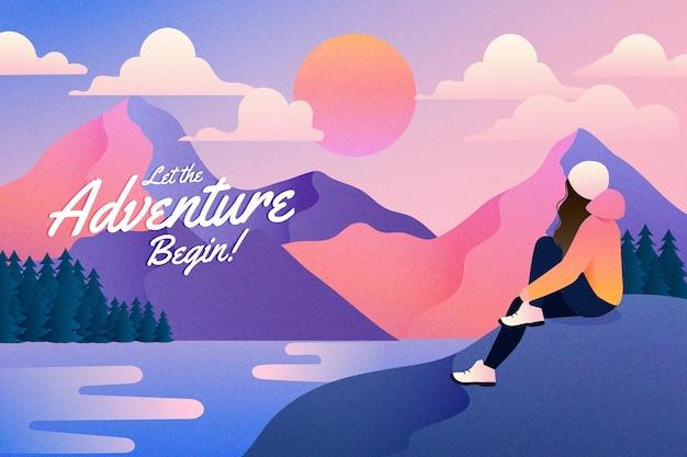 Fundo gradiente de aventura